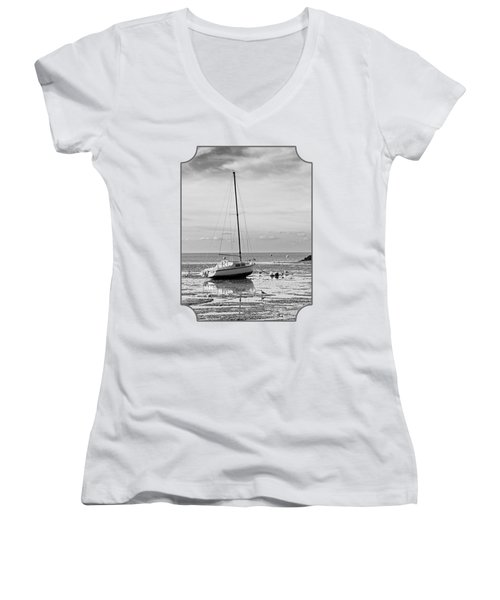 Waiting For High Tide Black And White Women's V-Neck T-Shirt (Junior Cut) by Gill Billington