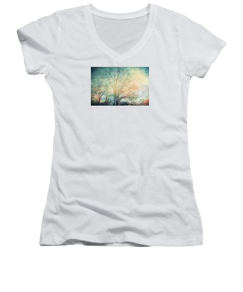 Waiting For Rain Women's V-Neck T-Shirt (Junior Cut) by Michele Cornelius