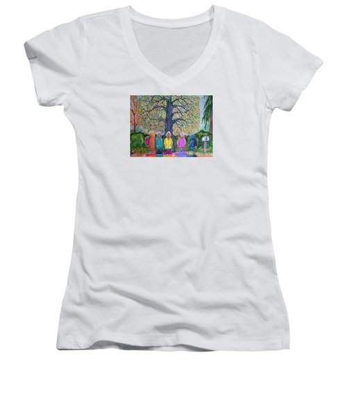 Waiting For The Bus Women's V-Neck T-Shirt (Junior Cut) by Nick Gustafson