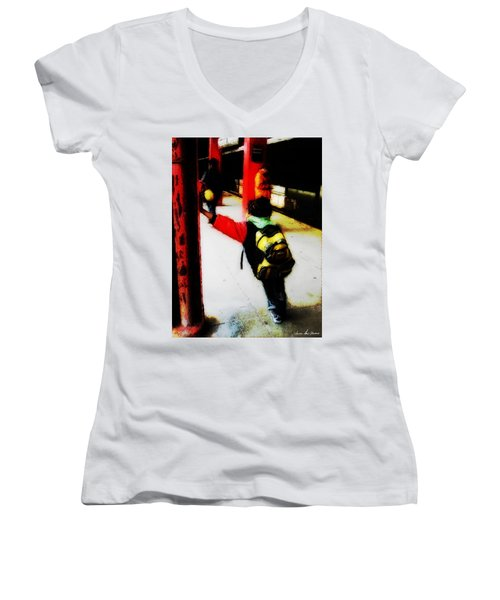 Women's V-Neck T-Shirt (Junior Cut) featuring the photograph Waiting On The Q Train In Flatbush by Iowan Stone-Flowers