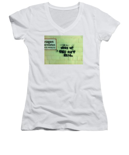 Women's V-Neck T-Shirt (Junior Cut) featuring the photograph Wake Up by Christin Brodie