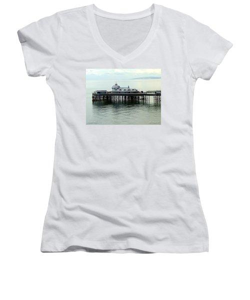 Women's V-Neck T-Shirt (Junior Cut) featuring the photograph Wales Boardwalk by Joan  Minchak