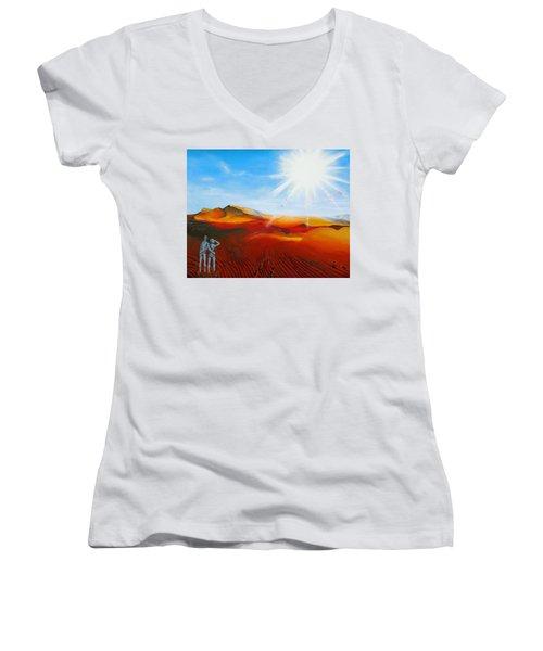 Walk A Mile Women's V-Neck T-Shirt (Junior Cut) by Raymond Perez