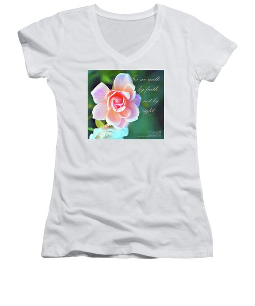 Walk By Faith Women's V-Neck T-Shirt (Junior Cut) by Inspirational Photo Creations Audrey Woods