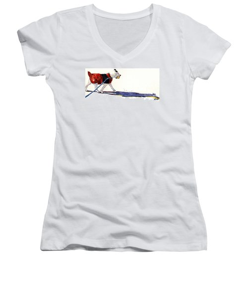 Women's V-Neck T-Shirt (Junior Cut) featuring the painting Walk In The Park by Molly Poole