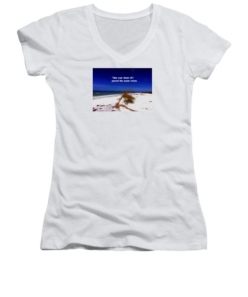Women's V-Neck T-Shirt (Junior Cut) featuring the photograph Walk In The Sand by Gary Wonning