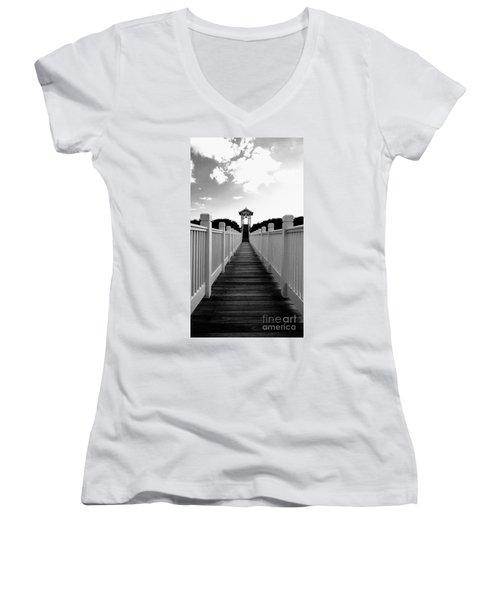 Walk To The Beach Women's V-Neck T-Shirt