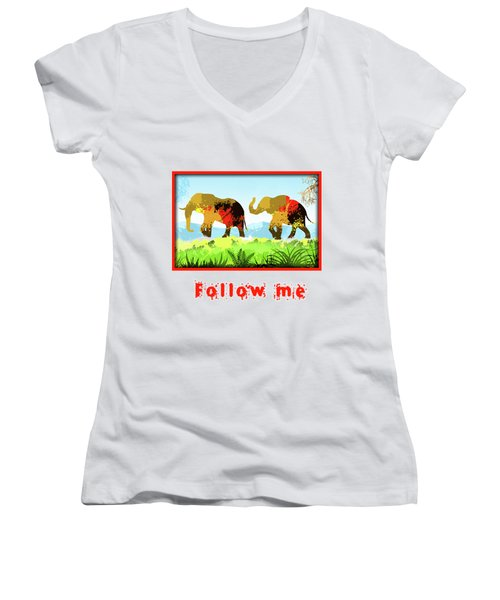 Women's V-Neck T-Shirt (Junior Cut) featuring the digital art Walk With Me by Anthony Mwangi