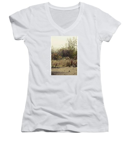 Walking By The Lake  #landscape #lake Women's V-Neck T-Shirt (Junior Cut) by Mandy Tabatt