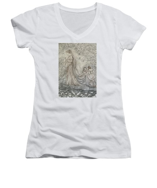 Walking In The Magic Garden Women's V-Neck T-Shirt (Junior Cut) by Rita Fetisov