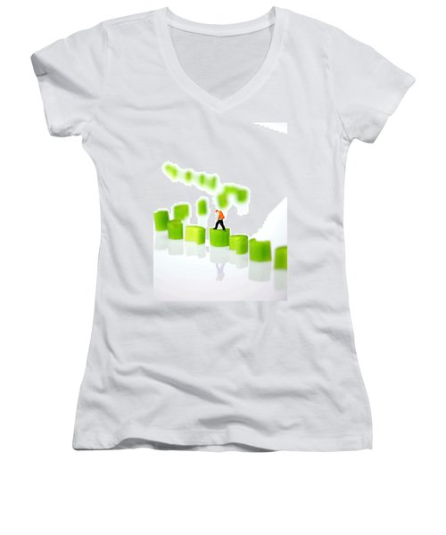 Walking On Celery  Women's V-Neck T-Shirt (Junior Cut) by Paul Ge