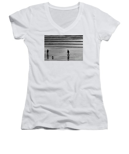 Walking The Dog At Marazion Women's V-Neck T-Shirt