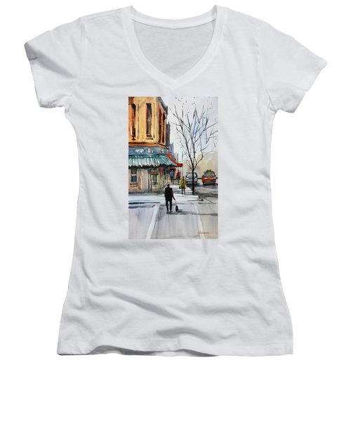 Walking The Dog Women's V-Neck (Athletic Fit)
