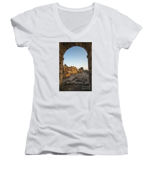 Women's V-Neck T-Shirt (Junior Cut) featuring the photograph Walking The History In Hierapolis by Yuri Santin
