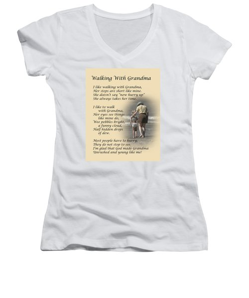 Women's V-Neck featuring the photograph Walking With Grandma by Dale Kincaid