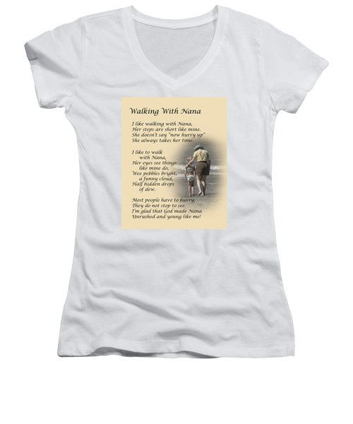 Women's V-Neck featuring the photograph Walking With Nana by Dale Kincaid
