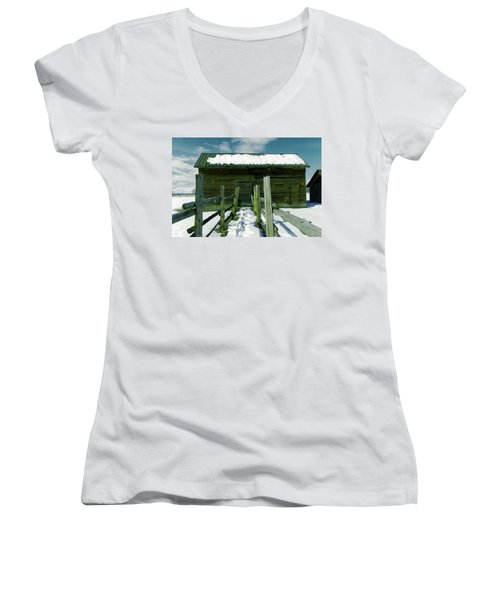 Women's V-Neck T-Shirt (Junior Cut) featuring the photograph Walkway To An Old Barn by Jeff Swan