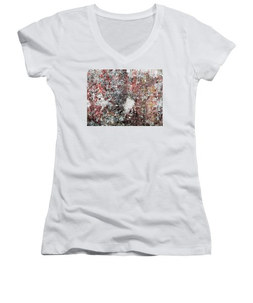 Wall Abstract 103 Women's V-Neck T-Shirt (Junior Cut) by Maria Huntley