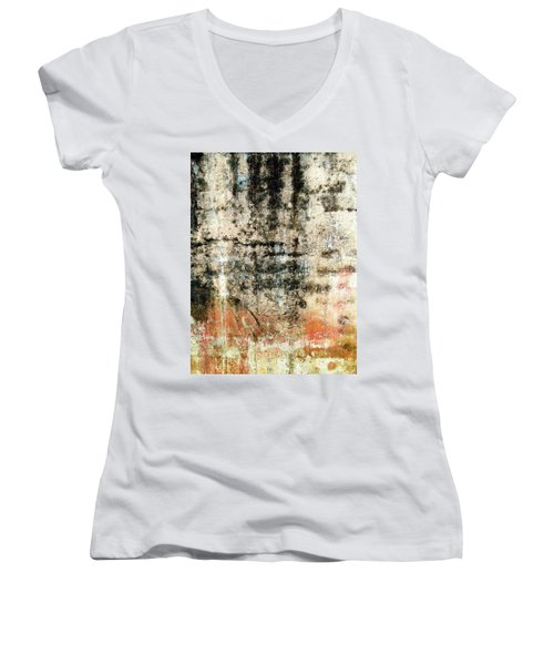Women's V-Neck T-Shirt (Junior Cut) featuring the photograph Wall Abstract 182 by Maria Huntley