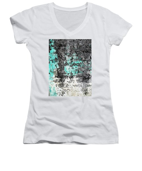 Women's V-Neck T-Shirt (Junior Cut) featuring the photograph Wall Abstract 185 by Maria Huntley