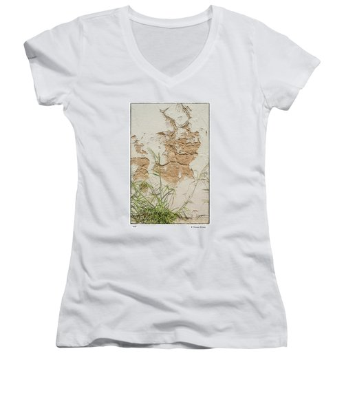 Women's V-Neck T-Shirt (Junior Cut) featuring the photograph Wall by R Thomas Berner