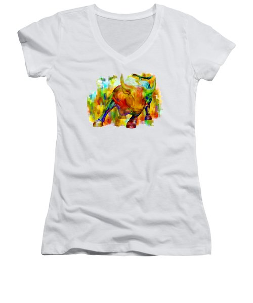 Wall Street Bull Women's V-Neck T-Shirt (Junior Cut) by Jack Zulli