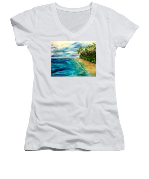 Wandering Through Turquoise Days Women's V-Neck T-Shirt (Junior Cut) by Lisa Aerts