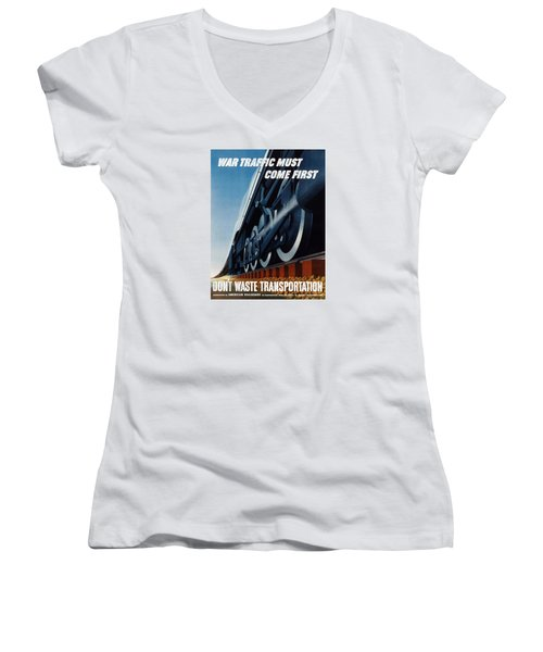 War Traffic Must Come First Women's V-Neck (Athletic Fit)