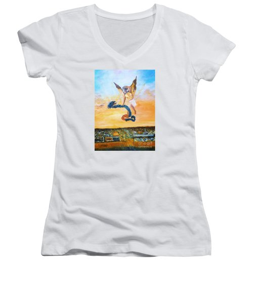 Women's V-Neck T-Shirt (Junior Cut) featuring the painting Warfare Rev 12 Vs7 by Donna Dixon