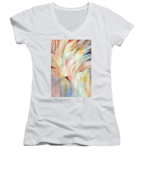 Women's V-Neck featuring the painting Warm Rays by Carolyn Utigard Thomas