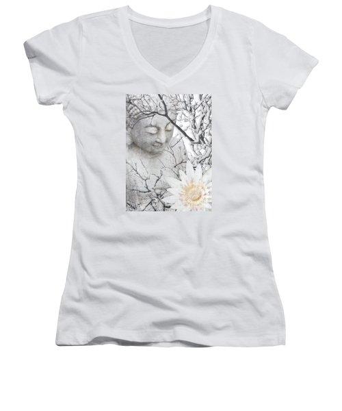 Warm Winter's Moment Women's V-Neck T-Shirt (Junior Cut) by Christopher Beikmann