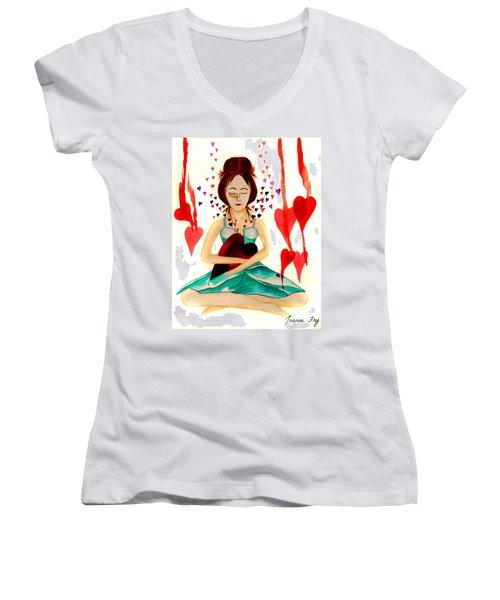 Warrior Woman - Tend To Your Heart Women's V-Neck T-Shirt (Junior Cut)