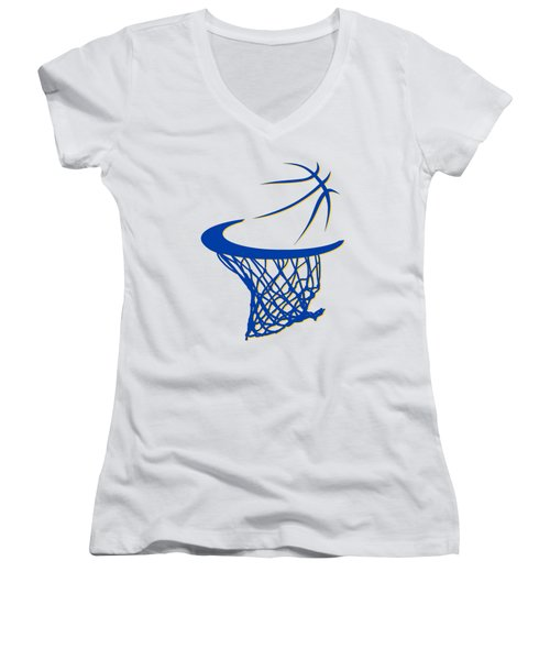 Warriors Basketball Hoop Women's V-Neck T-Shirt (Junior Cut) by Joe Hamilton