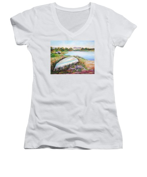 Washed Up Women's V-Neck T-Shirt (Junior Cut) by Patricia Piffath