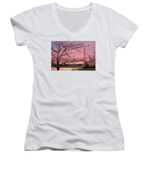 Women's V-Neck T-Shirt (Junior Cut) featuring the photograph Washington Monument Cherry Blossom Festival by Shelley Neff