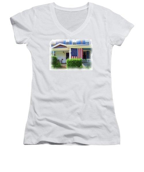 Watch Hill Ri Cottage Women's V-Neck T-Shirt (Junior Cut) by Joan Hartenstein