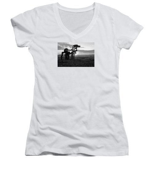 Watchful The Iron Horse  Women's V-Neck T-Shirt (Junior Cut) by Reid Callaway