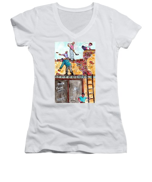 Watching Construction Workers Women's V-Neck