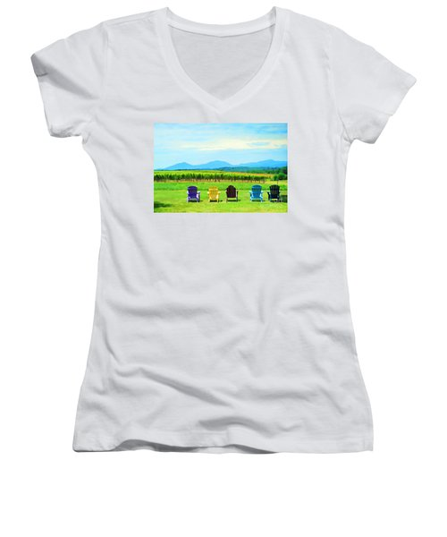 Watching The Grapes Grow Women's V-Neck