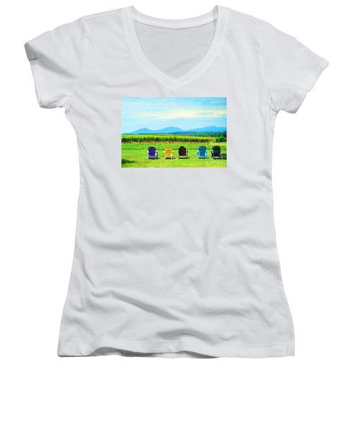 Watching The Grapes Grow Women's V-Neck (Athletic Fit)