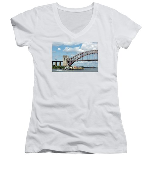 Hell Gate Bridge And Barge Women's V-Neck