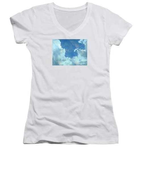 Water Clouds Women's V-Neck T-Shirt (Junior Cut) by Robin Regan