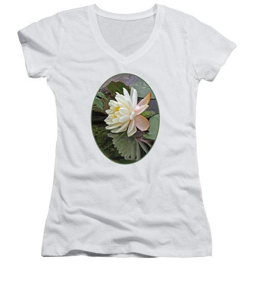 Water Lily Reflections Women's V-Neck T-Shirt (Junior Cut) by Gill Billington