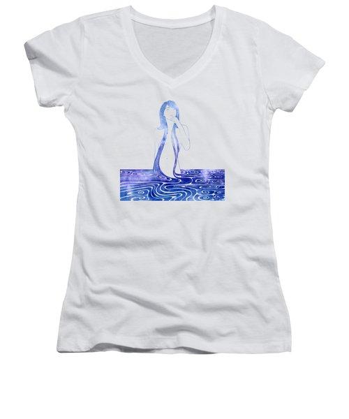 Water Nymph C Women's V-Neck T-Shirt (Junior Cut) by Stevyn Llewellyn