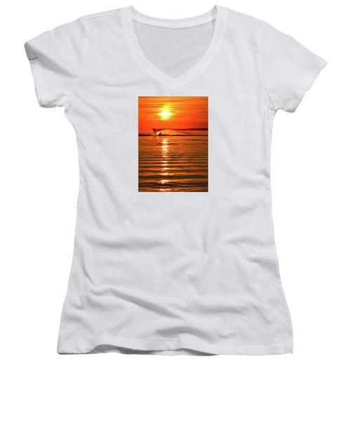 Water Skiing At Sunrise  Women's V-Neck (Athletic Fit)