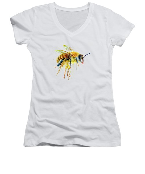 Watercolor Bee Women's V-Neck (Athletic Fit)
