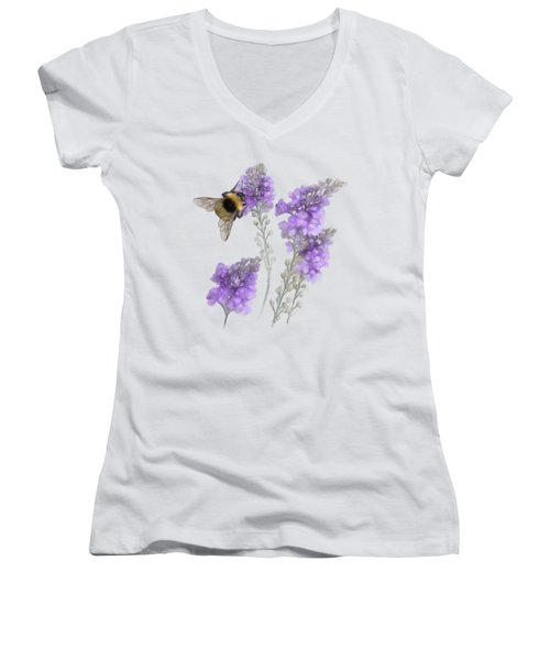 Watercolor Bumble Bee Women's V-Neck T-Shirt