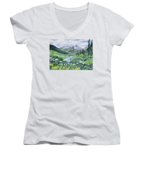 Watercolor - Colorado Summer Landscape Women's V-Neck