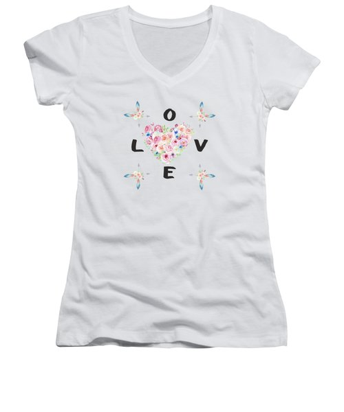 Watercolor Flowers Arrows Love Typography Women's V-Neck T-Shirt (Junior Cut) by Georgeta Blanaru