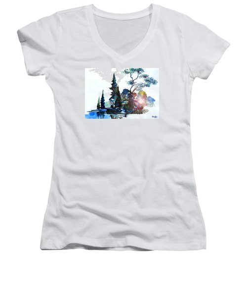 Watercolor Forest And Pond Women's V-Neck T-Shirt